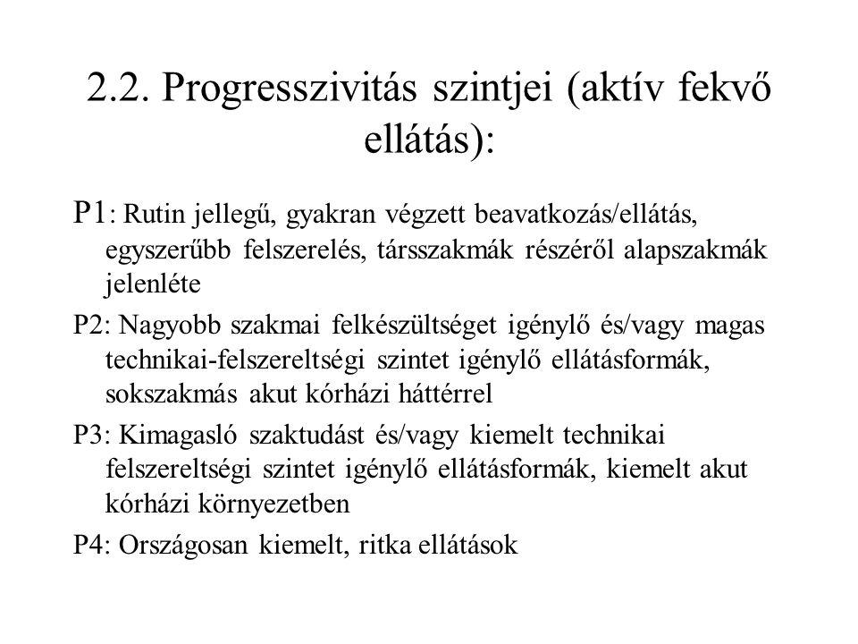 2.2. Progresszivitás szintjei (aktív fekvő ellátás): P1 : Rutin jellegű, gyakran végzett beavatkozás/ellátás, egyszerűbb felszerelés, társszakmák rész
