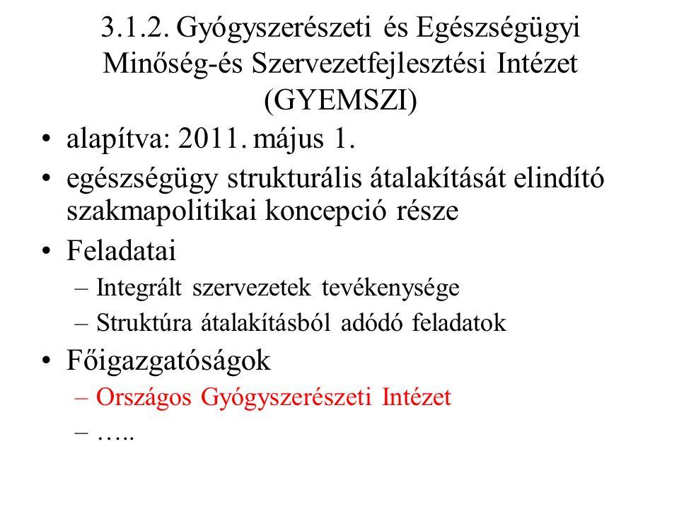 3.1.2. Gyógyszerészeti és Egészségügyi Minőség-és Szervezetfejlesztési Intézet (GYEMSZI) alapítva: 2011. május 1. egészségügy strukturális átalakításá