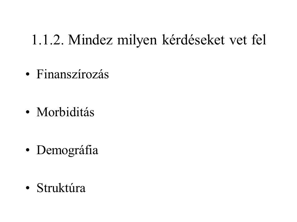 1.1.2. Mindez milyen kérdéseket vet fel Finanszírozás Morbiditás Demográfia Struktúra