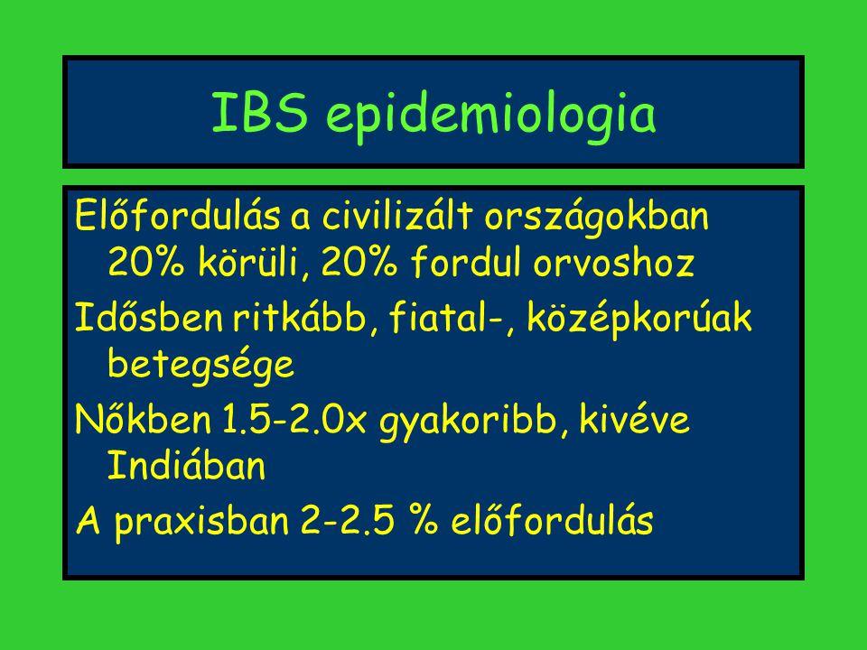 IBS epidemiologia Előfordulás a civilizált országokban 20% körüli, 20% fordul orvoshoz Idősben ritkább, fiatal-, középkorúak betegsége Nőkben 1.5-2.0x gyakoribb, kivéve Indiában A praxisban 2-2.5 % előfordulás