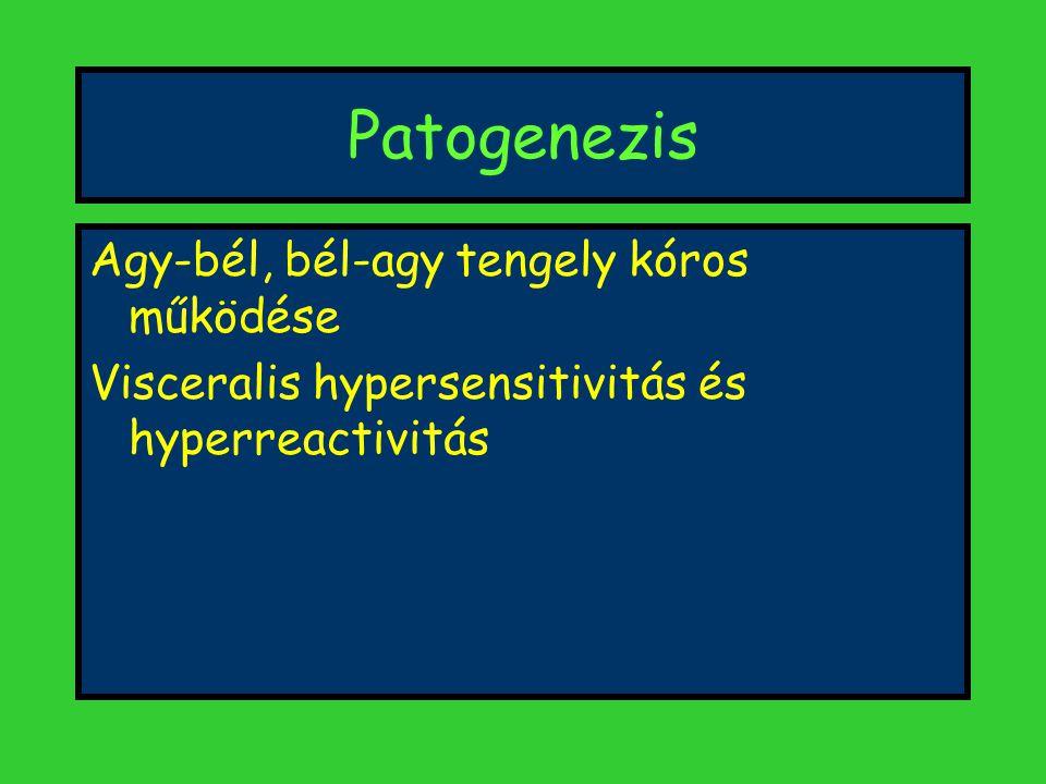 Patogenezis Agy-bél, bél-agy tengely kóros működése Visceralis hypersensitivitás és hyperreactivitás