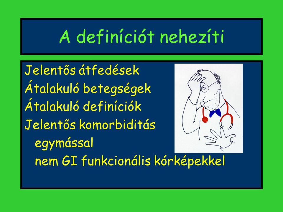 A definíciót nehezíti Jelentős átfedések Átalakuló betegségek Átalakuló definíciók Jelentős komorbiditás egymással nem GI funkcionális kórképekkel