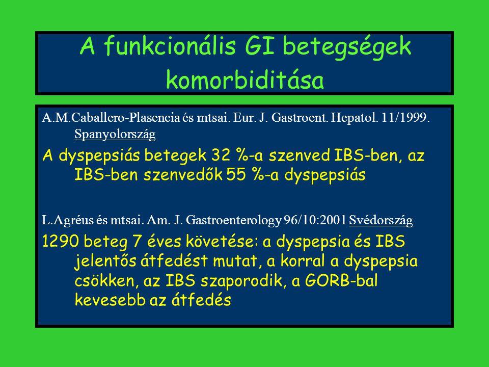 A funkcionális GI betegségek komorbiditása A.M.Caballero-Plasencia és mtsai.