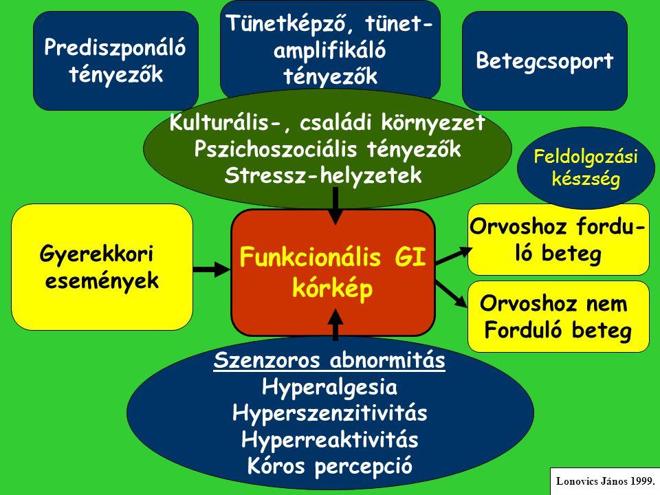 Prediszponáló tényezők Tünetképző, tünet- amplifikáló tényezők Betegcsoport Kulturális-, családi környezet Pszichoszociális tényezők Stressz-helyzetek Gyerekkori események Funkcionális GI kórkép Orvoshoz fordu- ló beteg Orvoshoz nem Forduló beteg Feldolgozási készség Szenzoros abnormitás Hyperalgesia Hyperszenzitivitás Hyperreaktivitás Kóros percepció Lonovics János 1999.