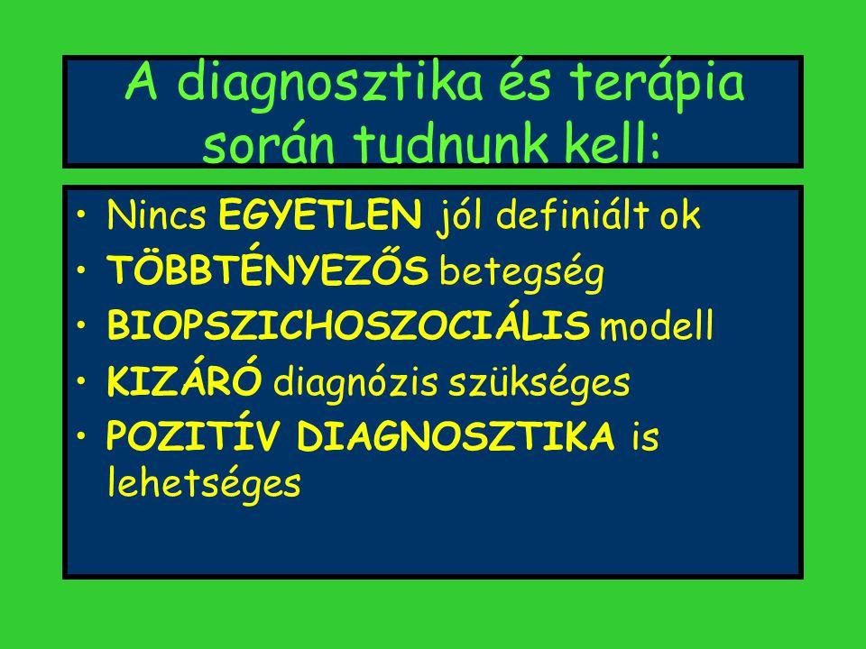 A diagnosztika és terápia során tudnunk kell: Nincs EGYETLEN jól definiált ok TÖBBTÉNYEZŐS betegség BIOPSZICHOSZOCIÁLIS modell KIZÁRÓ diagnózis szükséges POZITÍV DIAGNOSZTIKA is lehetséges
