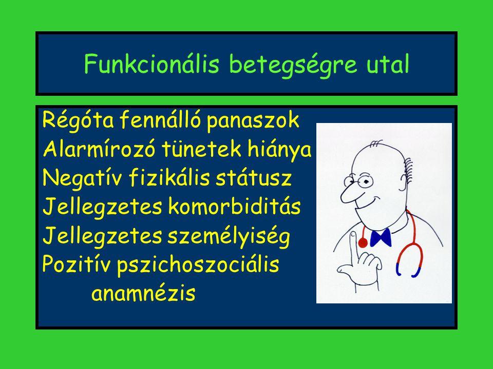 Funkcionális betegségre utal Régóta fennálló panaszok Alarmírozó tünetek hiánya Negatív fizikális státusz Jellegzetes komorbiditás Jellegzetes személyiség Pozitív pszichoszociális anamnézis