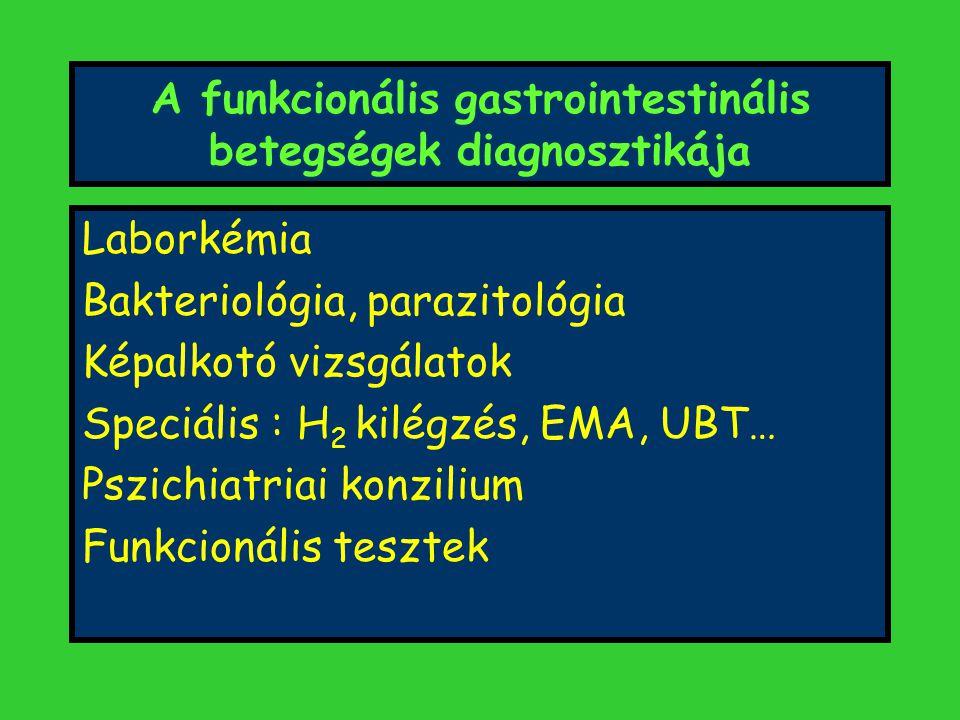 A funkcionális gastrointestinális betegségek diagnosztikája Laborkémia Bakteriológia, parazitológia Képalkotó vizsgálatok Speciális : H 2 kilégzés, EMA, UBT… Pszichiatriai konzilium Funkcionális tesztek