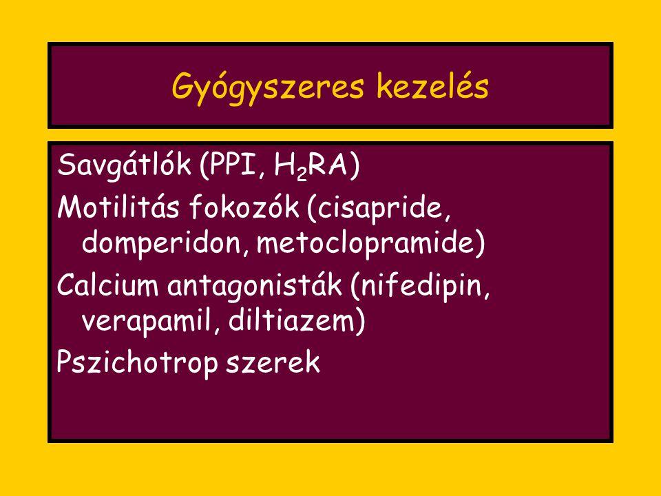 Gyógyszeres kezelés Savgátlók (PPI, H 2 RA) Motilitás fokozók (cisapride, domperidon, metoclopramide) Calcium antagonisták (nifedipin, verapamil, diltiazem) Pszichotrop szerek