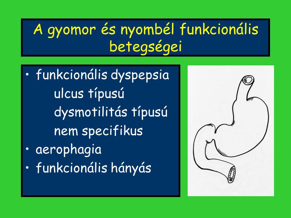 A gyomor és nyombél funkcionális betegségei funkcionális dyspepsia ulcus típusú dysmotilitás típusú nem specifikus aerophagia funkcionális hányás