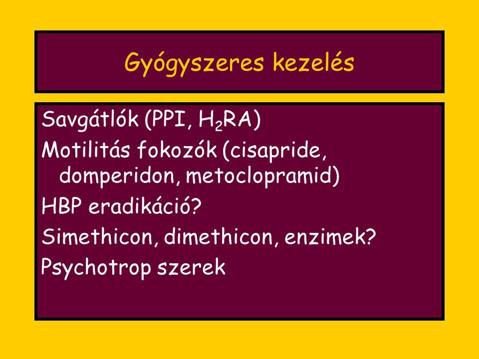 Gyógyszeres kezelés Savgátlók (PPI, H 2 RA) Motilitás fokozók (cisapride, domperidon, metoclopramid) HBP eradikáció.