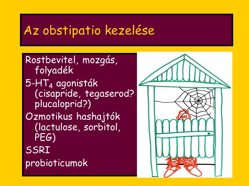 Az obstipatio kezelése Rostbevitel, mozgás, folyadék 5-HT 4 agonisták (cisapride, tegaserod.