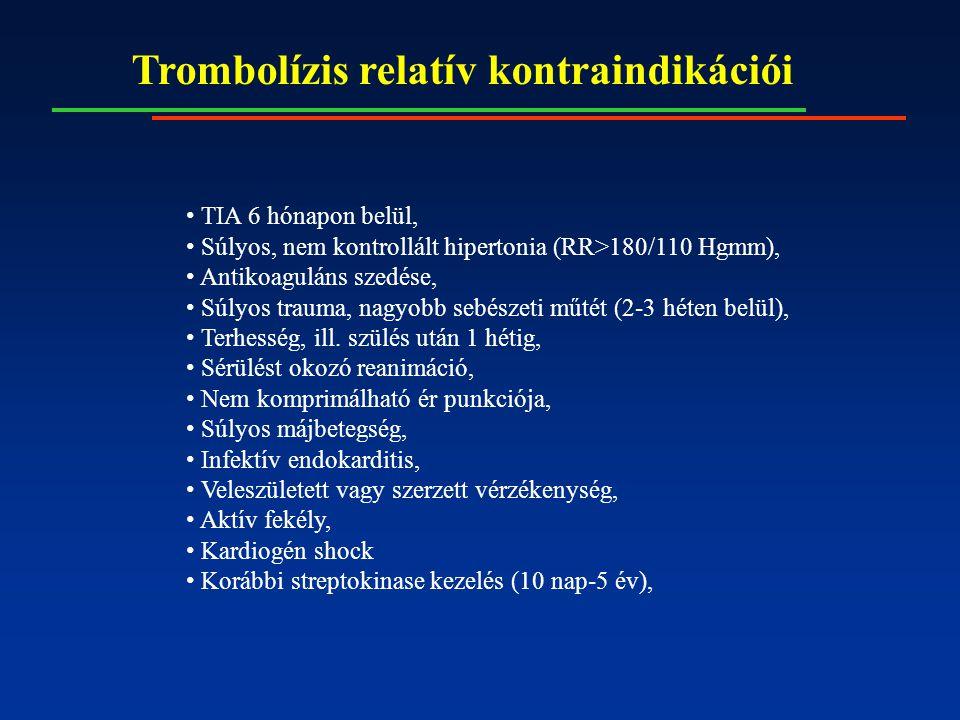 Trombolízis relatív kontraindikációi TIA 6 hónapon belül, Súlyos, nem kontrollált hipertonia (RR>180/110 Hgmm), Antikoaguláns szedése, Súlyos trauma,