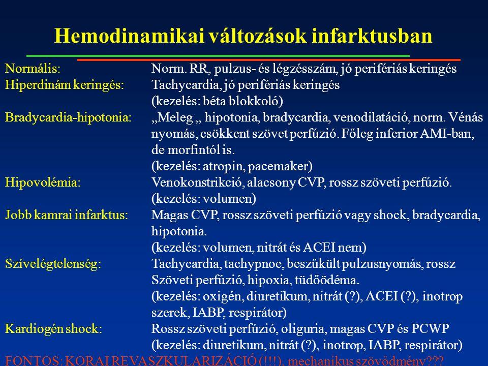 Hemodinamikai változások infarktusban Normális:Norm. RR, pulzus- és légzésszám, jó perifériás keringés Hiperdinám keringés:Tachycardia, jó perifériás