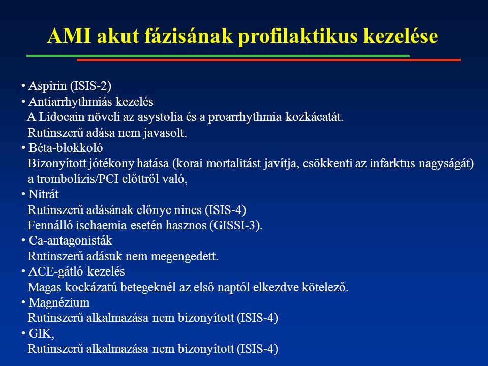 AMI akut fázisának profilaktikus kezelése Aspirin (ISIS-2) Antiarrhythmiás kezelés A Lidocain növeli az asystolia és a proarrhythmia kozkácatát. Rutin
