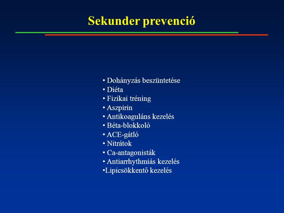 Sekunder prevenció Dohányzás beszüntetése Diéta Fizikai tréning Aszpirin Antikoaguláns kezelés Béta-blokkoló ACE-gátló Nitrátok Ca-antagonisták Antiar