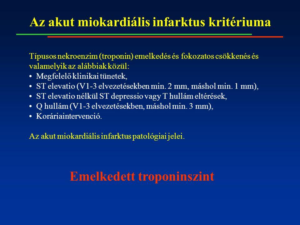 Az akut miokardiális infarktus kritériuma Típusos nekroenzim (troponin) emelkedés és fokozatos csökkenés és valamelyik az alábbiak közül: Megfelelő kl
