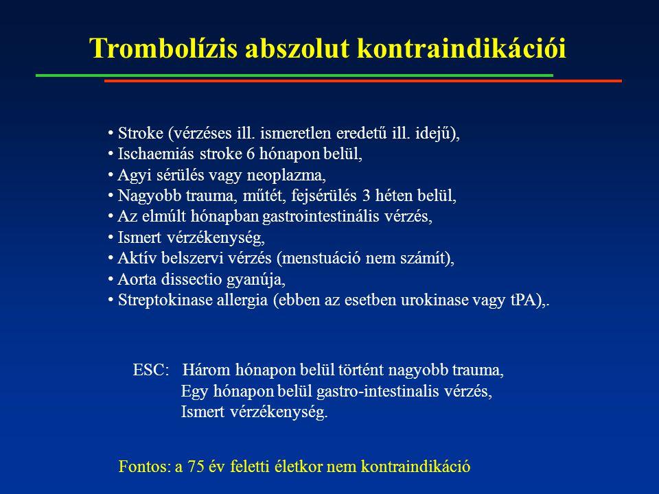 Trombolízis abszolut kontraindikációi Stroke (vérzéses ill. ismeretlen eredetű ill. idejű), Ischaemiás stroke 6 hónapon belül, Agyi sérülés vagy neopl