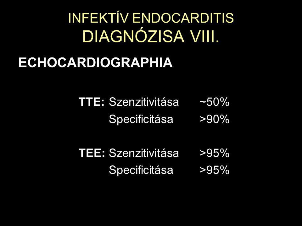 INFEKTÍV ENDOCARDITIS DIAGNÓZISA VIII. ECHOCARDIOGRAPHIA TTE:Szenzitivitása~50% Specificitása>90% TEE:Szenzitivitása>95% Specificitása>95%