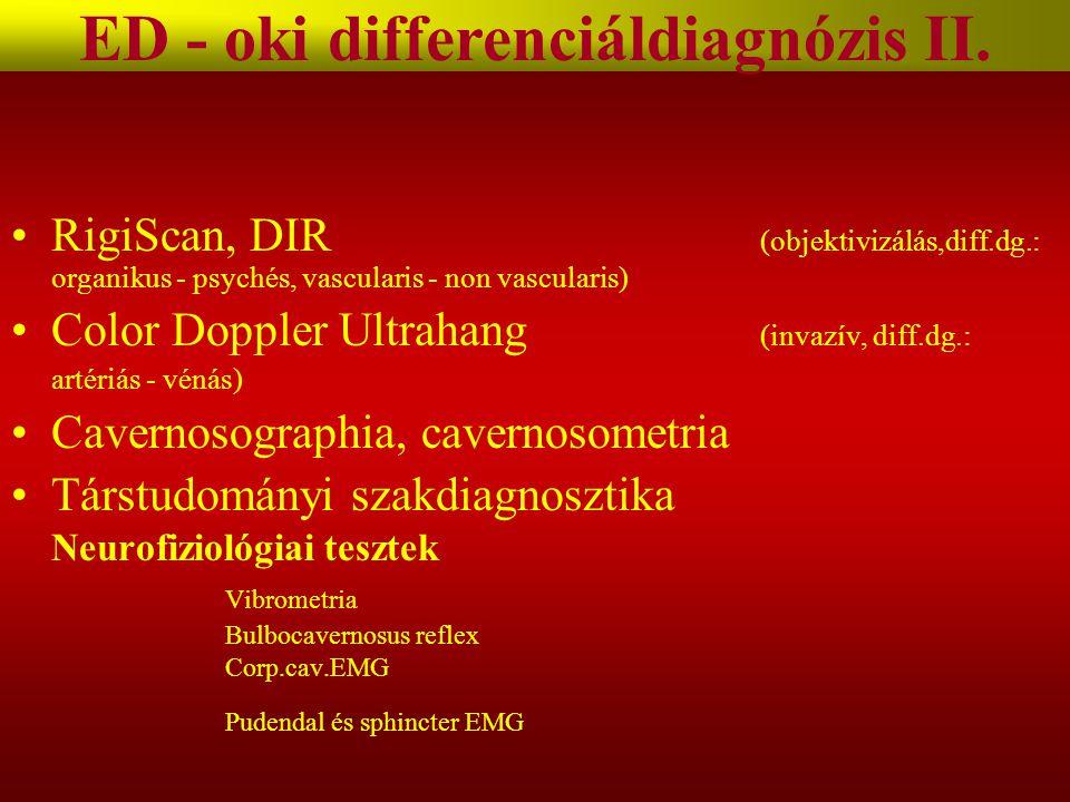 RigiScan, DIR (objektivizálás,diff.dg.: organikus - psychés, vascularis - non vascularis) Color Doppler Ultrahang (invazív, diff.dg.: artériás - vénás) Cavernosographia, cavernosometria Társtudományi szakdiagnosztika Neurofiziológiai tesztek Vibrometria Bulbocavernosus reflex Corp.cav.EMG Pudendal és sphincter EMG ED - oki differenciáldiagnózis II.