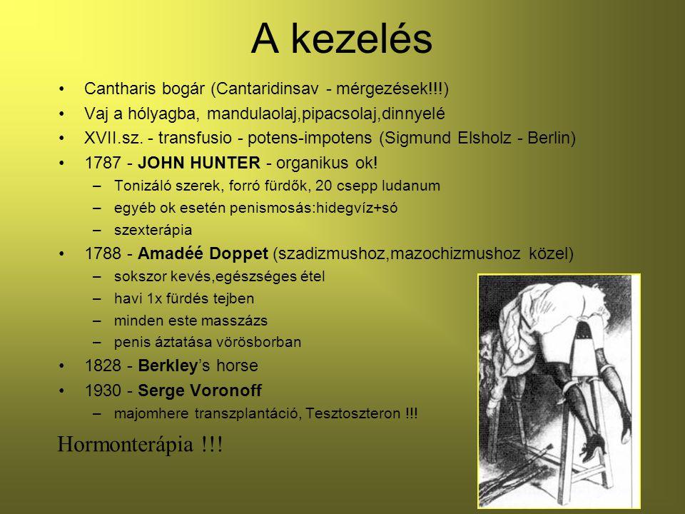A kezelés Cantharis bogár (Cantaridinsav - mérgezések!!!) Vaj a hólyagba, mandulaolaj,pipacsolaj,dinnyelé XVII.sz.