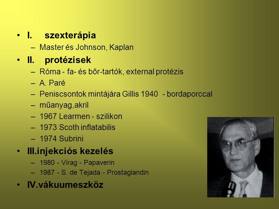 I.szexterápia –Master és Johnson, Kaplan II.protézisek –Róma - fa- és bőr-tartók, external protézis –A.