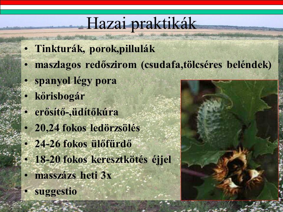 Hazai praktikák Tinkturák, porok,pillulák maszlagos redőszirom (csudafa,tölcséres beléndek) spanyol légy pora kőrisbogár erősítő-,üdítőkúra 20,24 fokos ledörzsölés 24-26 fokos ülőfürdő 18-20 fokos keresztkötés éjjel masszázs heti 3x suggestio