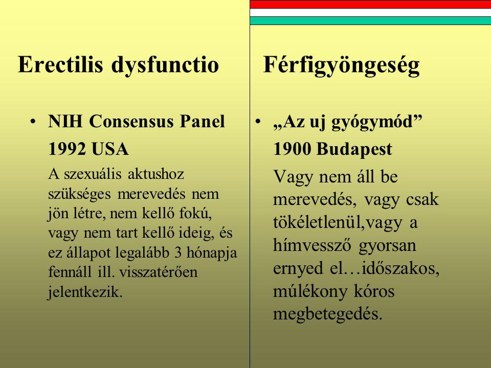 Erectilis dysfunctioFérfigyöngeség NIH Consensus Panel 1992 USA A szexuális aktushoz szükséges merevedés nem jön létre, nem kellő fokú, vagy nem tart kellő ideig, és ez állapot legalább 3 hónapja fennáll ill.