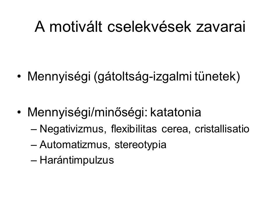 A motivált cselekvések zavarai Mennyiségi (gátoltság-izgalmi tünetek) Mennyiségi/minőségi: katatonia –Negativizmus, flexibilitas cerea, cristallisatio –Automatizmus, stereotypia –Harántimpulzus