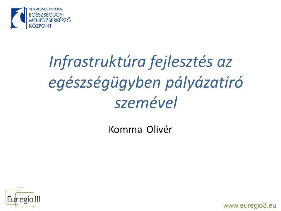 Infrastruktúra fejlesztés az egészségügyben pályázatíró szemével Komma Olivér www.euregio3.eu