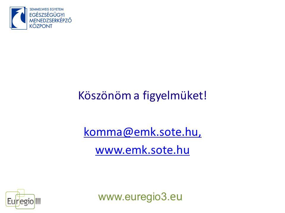 Köszönöm a figyelmüket! komma@emk.sote.hu, www.emk.sote.hu www.euregio3. eu