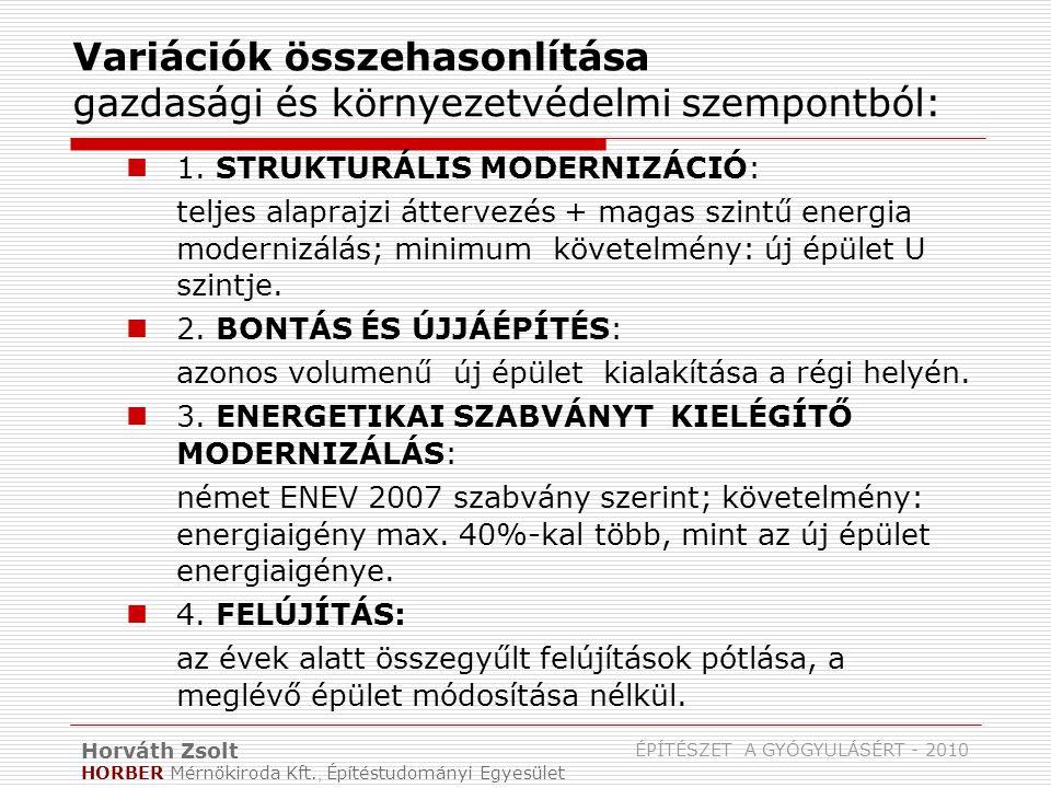 Horváth Zsolt HORBER Mérnökiroda Kft., Építéstudományi Egyesület ÉPÍTÉSZET A GYÓGYULÁSÉRT - 2010 Variációk összehasonlítása gazdasági és környezetvédelmi szempontból: 1.