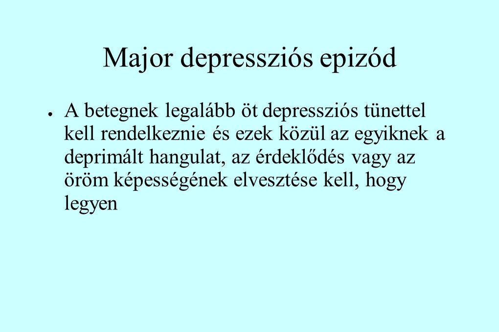 Major depressziós epizód ● A betegnek legalább öt depressziós tünettel kell rendelkeznie és ezek közül az egyiknek a deprimált hangulat, az érdeklődés vagy az öröm képességének elvesztése kell, hogy legyen