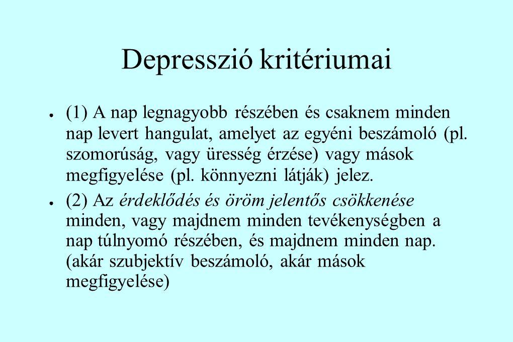 Depresszió kritériumai ● (1) A nap legnagyobb részében és csaknem minden nap levert hangulat, amelyet az egyéni beszámoló (pl. szomorúság, vagy üressé