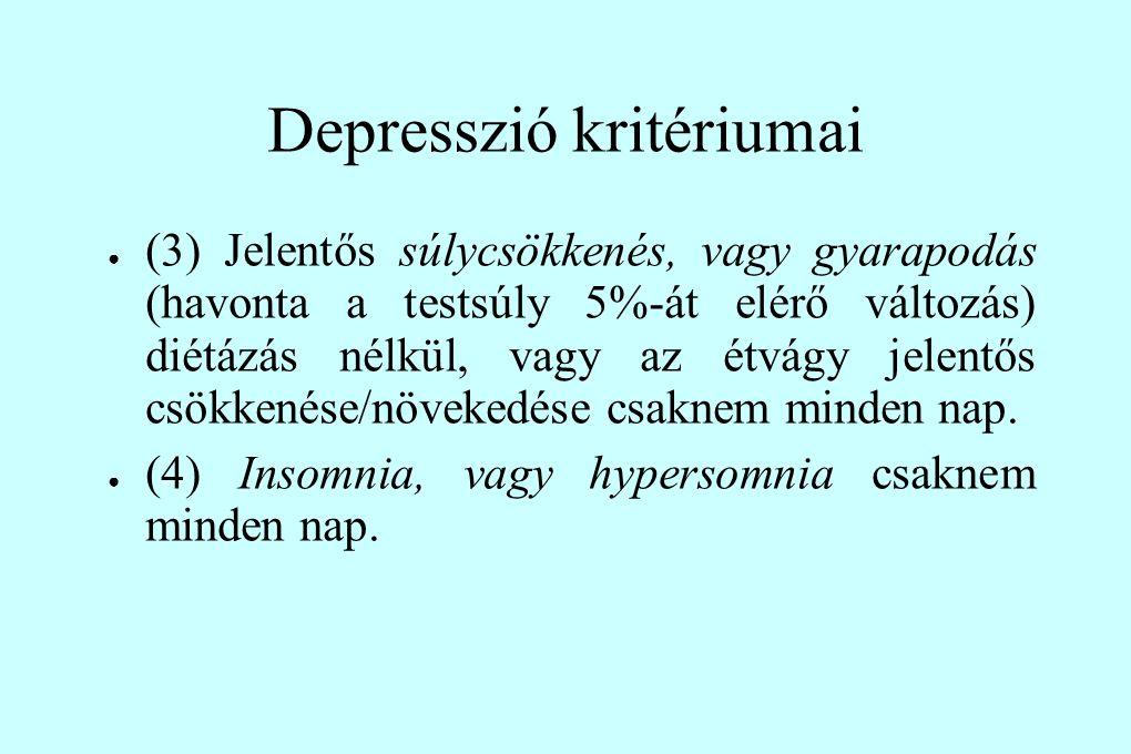 Depresszió kritériumai ● (3) Jelentős súlycsökkenés, vagy gyarapodás (havonta a testsúly 5%-át elérő változás) diétázás nélkül, vagy az étvágy jelentő