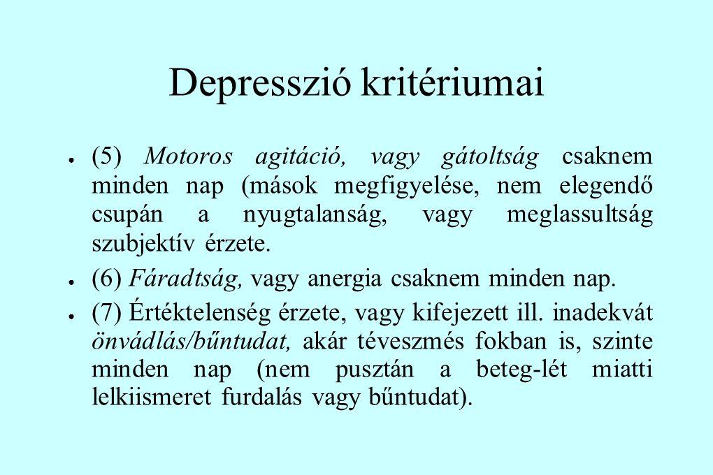 Depresszió kritériumai ● (5) Motoros agitáció, vagy gátoltság csaknem minden nap (mások megfigyelése, nem elegendő csupán a nyugtalanság, vagy meglassultság szubjektív érzete.