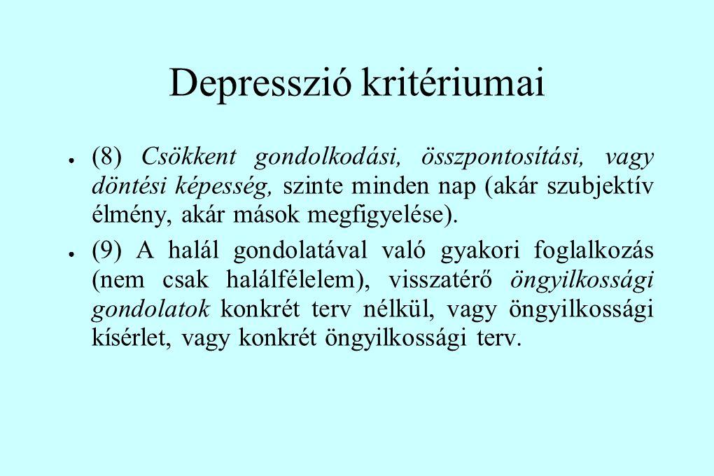 Depresszió kritériumai ● (8) Csökkent gondolkodási, összpontosítási, vagy döntési képesség, szinte minden nap (akár szubjektív élmény, akár mások megf