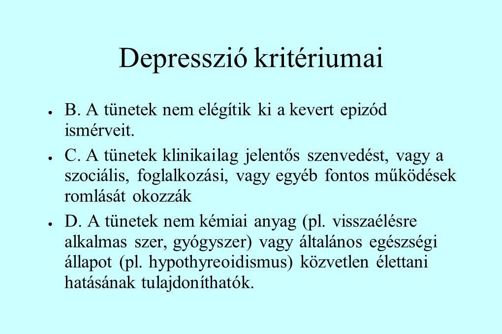 Depresszió kritériumai ● B. A tünetek nem elégítik ki a kevert epizód ismérveit. ● C. A tünetek klinikailag jelentős szenvedést, vagy a szociális, fog