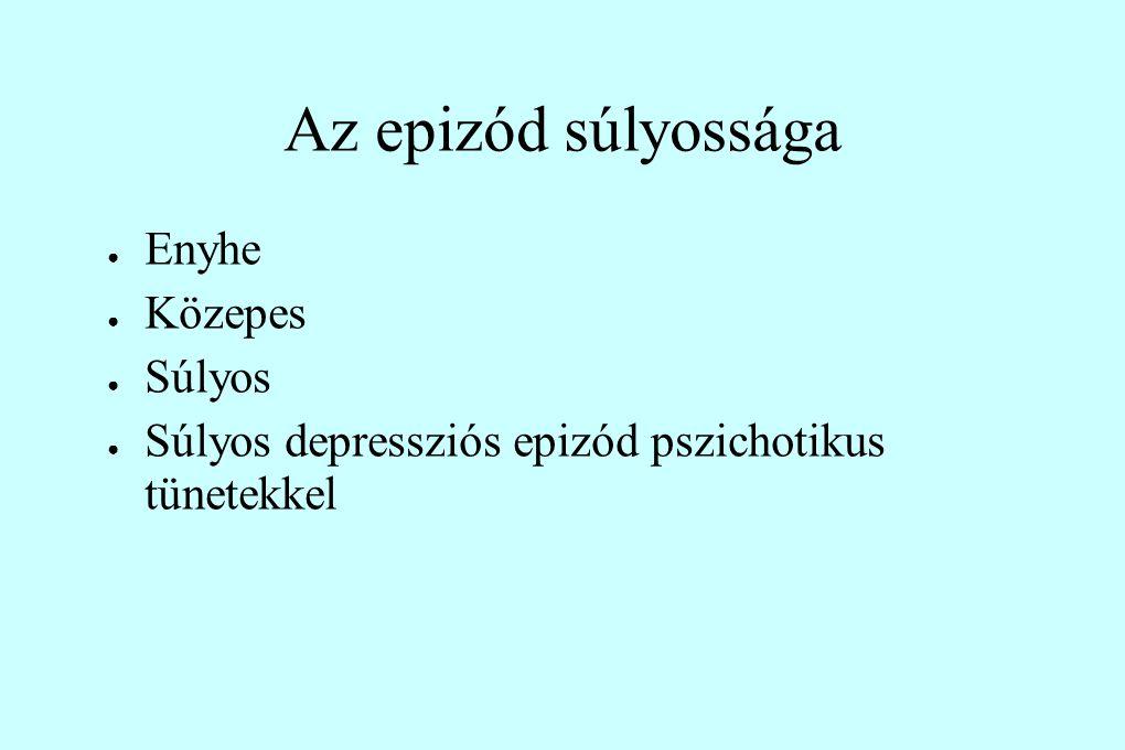 Az epizód súlyossága ● Enyhe ● Közepes ● Súlyos ● Súlyos depressziós epizód pszichotikus tünetekkel