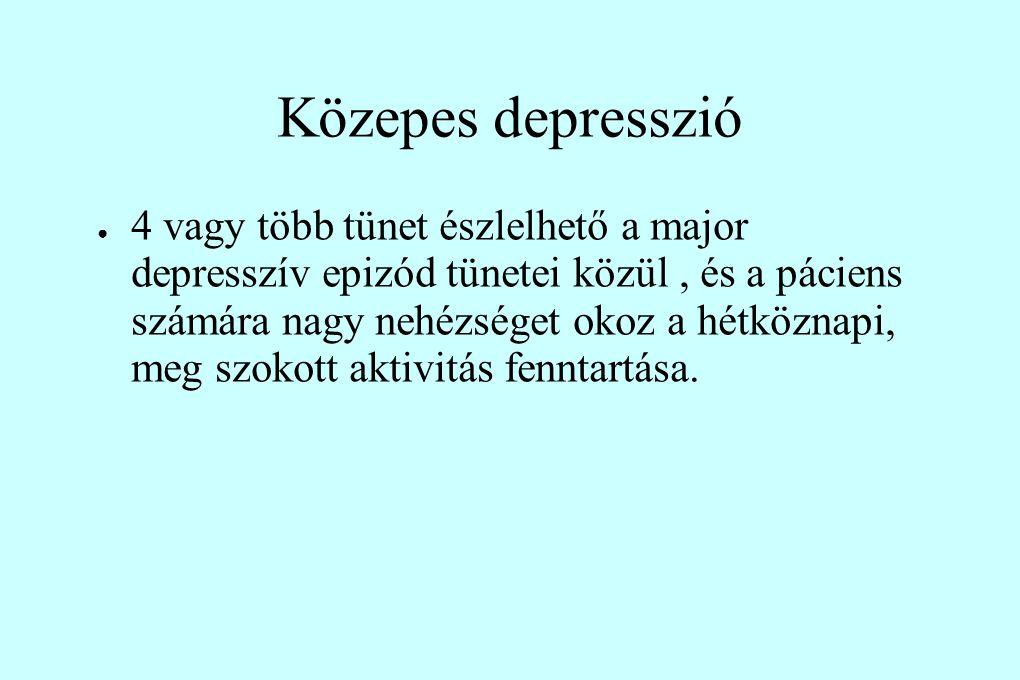 Közepes depresszió ● 4 vagy több tünet észlelhető a major depresszív epizód tünetei közül, és a páciens számára nagy nehézséget okoz a hétköznapi, meg szokott aktivitás fenntartása.