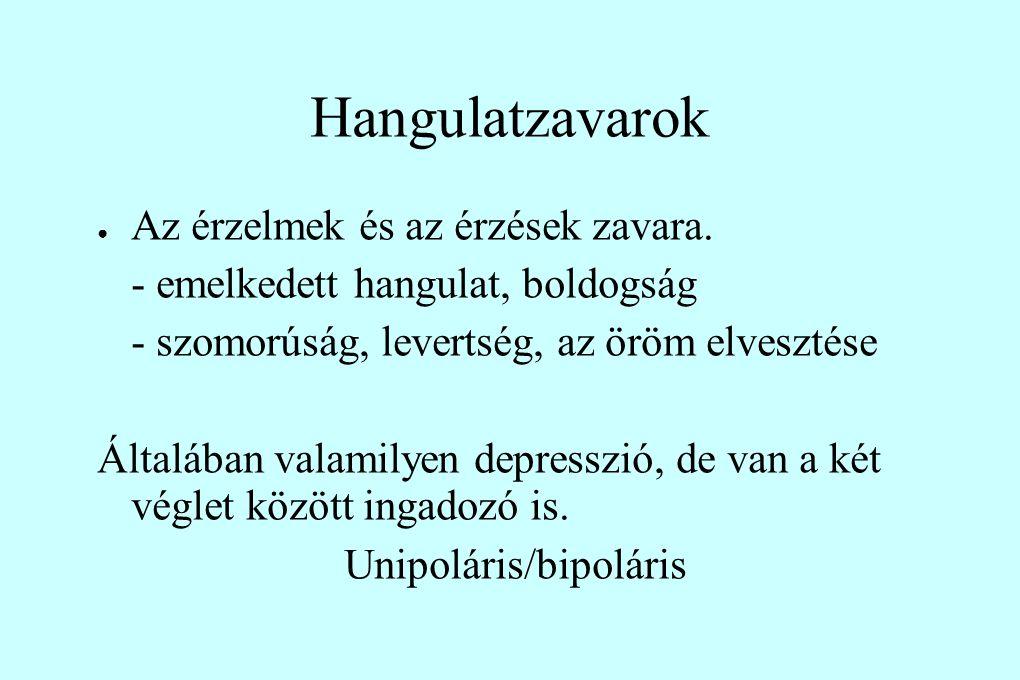 Hangulatzavarok ● Az érzelmek és az érzések zavara. - emelkedett hangulat, boldogság - szomorúság, levertség, az öröm elvesztése Általában valamilyen