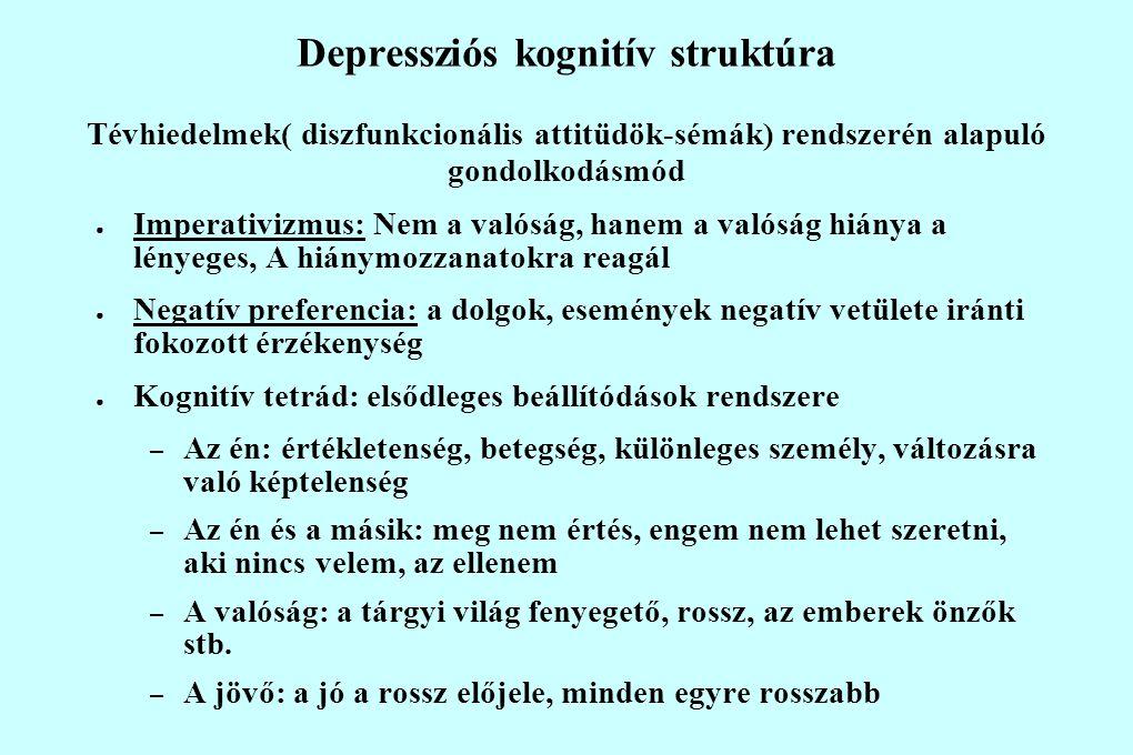 Depressziós kognitív struktúra Tévhiedelmek( diszfunkcionális attitüdök-sémák) rendszerén alapuló gondolkodásmód ● Imperativizmus: Nem a valóság, hanem a valóság hiánya a lényeges, A hiánymozzanatokra reagál ● Negatív preferencia: a dolgok, események negatív vetülete iránti fokozott érzékenység ● Kognitív tetrád: elsődleges beállítódások rendszere – Az én: értékletenség, betegség, különleges személy, változásra való képtelenség – Az én és a másik: meg nem értés, engem nem lehet szeretni, aki nincs velem, az ellenem – A valóság: a tárgyi világ fenyegető, rossz, az emberek önzők stb.