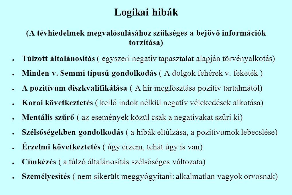 Logikai hibák (A tévhiedelmek megvalósulásához szükséges a bejövő információk torzítása) ( egyszeri negatív tapasztalat alapján törvényalkotás) ● Túlz
