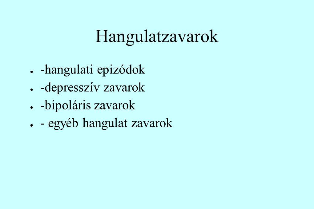 Hangulatzavarok ● -hangulati epizódok ● -depresszív zavarok ● -bipoláris zavarok ● - egyéb hangulat zavarok