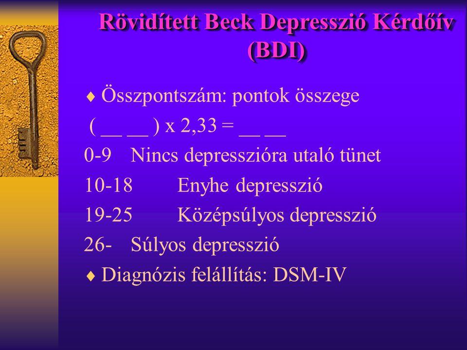  Összpontszám: pontok összege ( __ __ ) x 2,33 = __ __ 0-9Nincs depresszióra utaló tünet 10-18Enyhe depresszió 19-25Középsúlyos depresszió 26-Súlyos depresszió  Diagnózis felállítás: DSM-IV Rövidített Beck Depresszió Kérdőív (BDI)