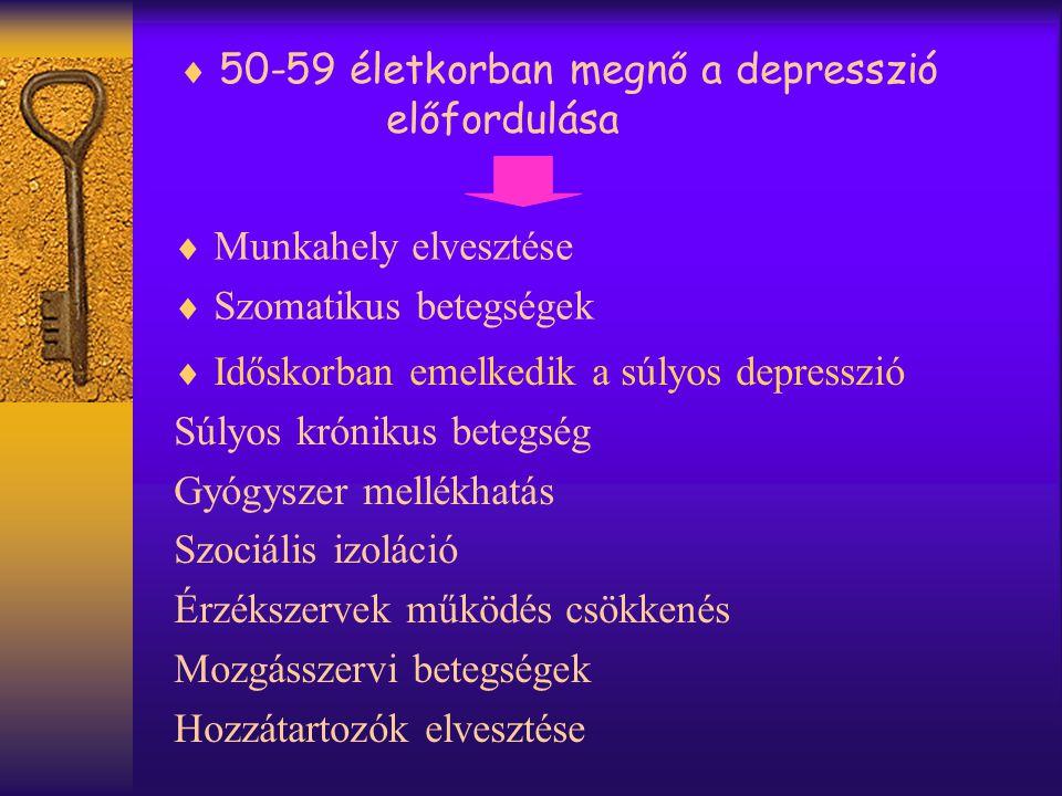  50-59 életkorban megnő a depresszió előfordulása  Munkahely elvesztése  Szomatikus betegségek  Időskorban emelkedik a súlyos depresszió Súlyos krónikus betegség Gyógyszer mellékhatás Szociális izoláció Érzékszervek működés csökkenés Mozgásszervi betegségek Hozzátartozók elvesztése