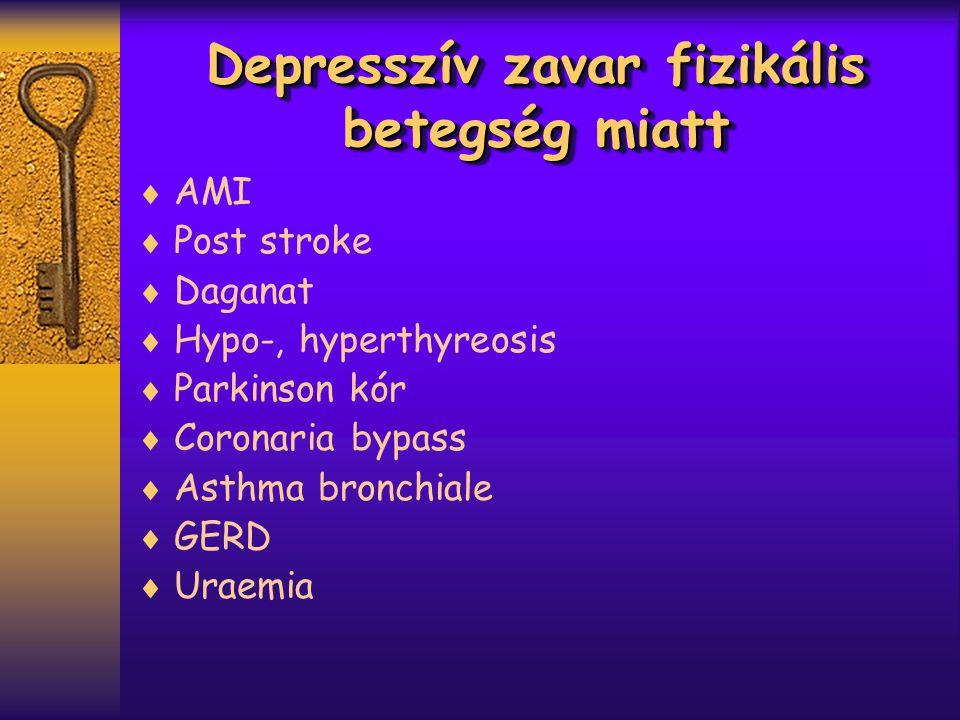Depresszív zavar fizikális betegség miatt  AMI  Post stroke  Daganat  Hypo-, hyperthyreosis  Parkinson kór  Coronaria bypass  Asthma bronchiale  GERD  Uraemia
