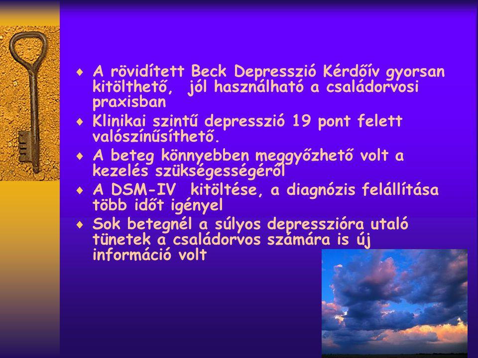  A rövidített Beck Depresszió Kérdőív gyorsan kitölthető, jól használható a családorvosi praxisban  Klinikai szintű depresszió 19 pont felett valószínűsíthető.