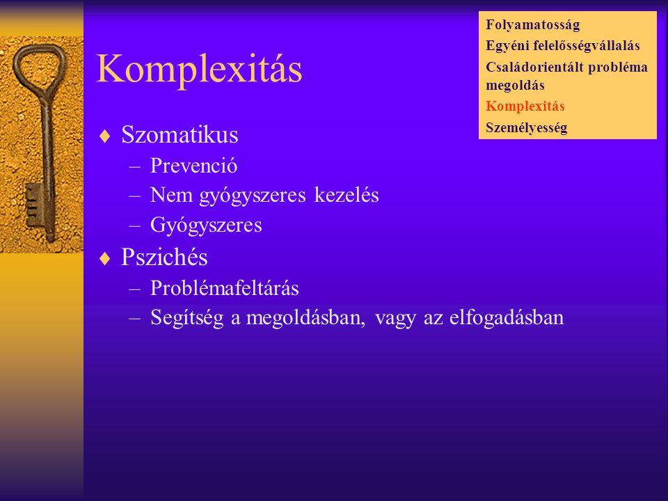 Komplexitás  Szomatikus –Prevenció –Nem gyógyszeres kezelés –Gyógyszeres  Pszichés –Problémafeltárás –Segítség a megoldásban, vagy az elfogadásban Folyamatosság Egyéni felelősségvállalás Családorientált probléma megoldás Komplexitás Személyesség