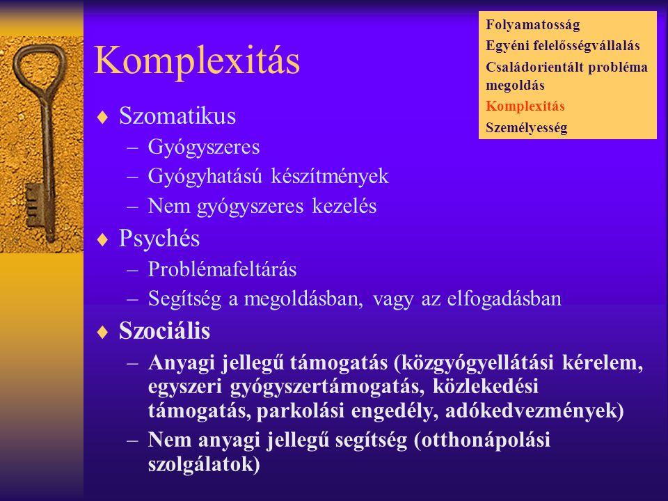 Komplexitás  Szomatikus –Gyógyszeres –Gyógyhatású készítmények –Nem gyógyszeres kezelés  Psychés –Problémafeltárás –Segítség a megoldásban, vagy az elfogadásban  Szociális –Anyagi jellegű támogatás (közgyógyellátási kérelem, egyszeri gyógyszertámogatás, közlekedési támogatás, parkolási engedély, adókedvezmények) –Nem anyagi jellegű segítség (otthonápolási szolgálatok) Folyamatosság Egyéni felelősségvállalás Családorientált probléma megoldás Komplexitás Személyesség