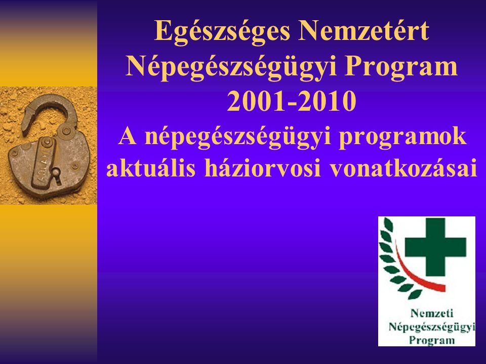 Egészséges Nemzetért Népegészségügyi Program 2001-2010 A népegészségügyi programok aktuális háziorvosi vonatkozásai